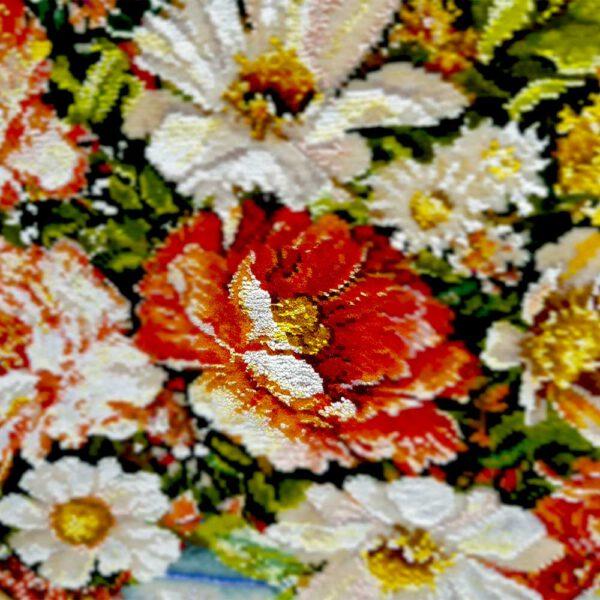 تابلو فرش گل عرضی ترمه کد 1079